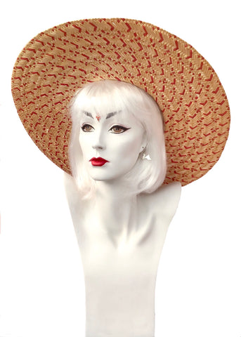 Huge vintage wide brim straw sun hat with red woven straw and natural, fab rockabilly hat to keep you cool and shady