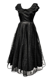 1950s Vintage Black Flocked Chiffon Fit and Flare Ball Gown