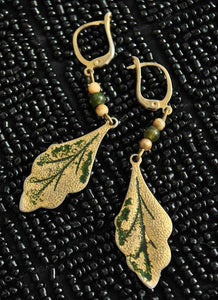 Haskell vibe oak leaf vintage 40s earrings