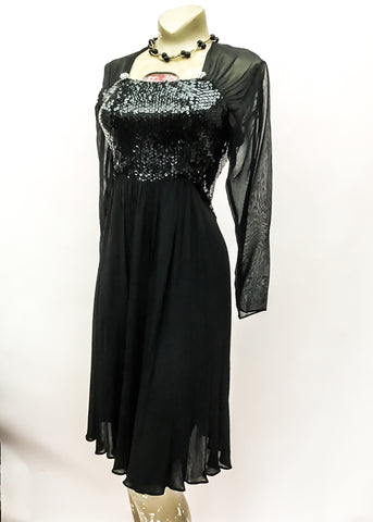 1990s Vintage Bruce Oldfield Black Sequin Chiffon Cocktail Dress • Designer