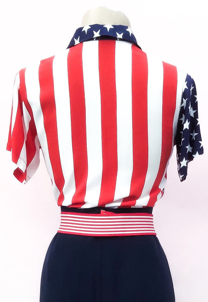 1990s Vintage Rayon Stars & Stripes USA Short Sleeve Blouse