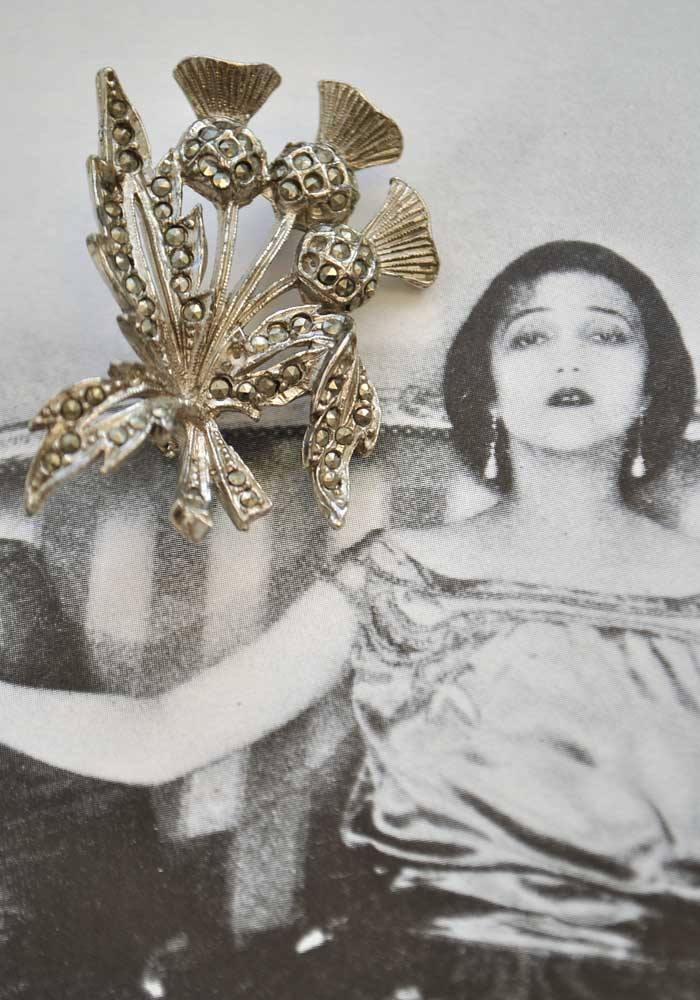 Vintage marcasite thistle brooch