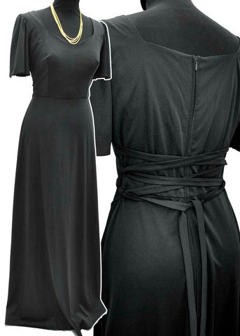 Vintage 70s kleemeier hof black evening dress with corset laced back
