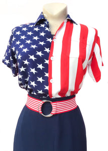 Rayon stars and stripes, unites states blouse, short sleeve top perfect 4th july outfit