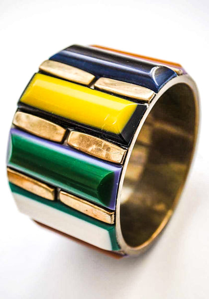 Large Chunky Brass with Multicoloured Resin Laminate  Bangle