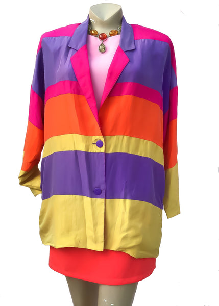1980s Vivid Colour Block Silk Boyfriend Jacket • Huge Shoulder Pads