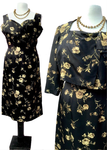 Vintage Frederick starke cocktail dress with matching box jacket in black silk with a muted gold rose print, vintage era 1960s, perfect for a wedding or summer event. To fit 40 inchbust