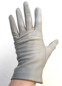 Dove grey vintage wrist length leather gloves size 7