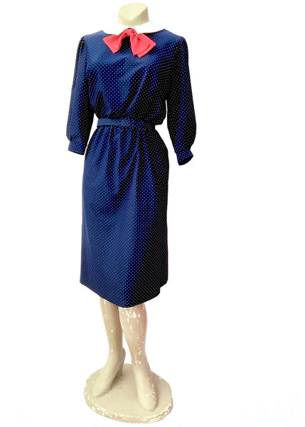 1970s Blue Swiss Dot Dress With Peter Pan Collar and Red Bow
