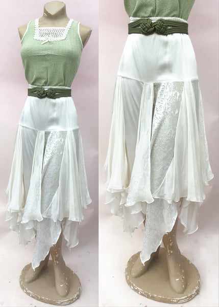 1970s Influence Vintage White Silk Scarf Skirt very Stevie Nicks * Size large