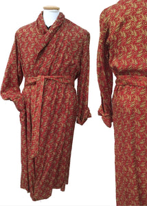 fabulous vintage tootal dressing gown robe in a classic red paisley print