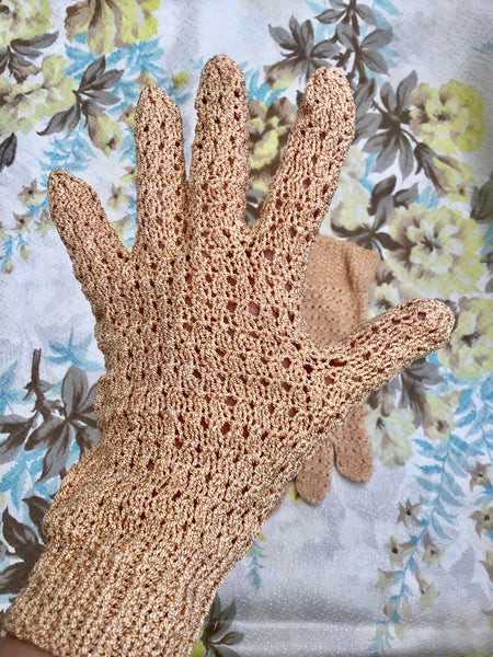 1930s 40s Vintage Lacey Crochet Knit Day Gloves in a Large Size • Bridal Gloves