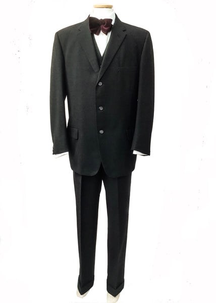1950s Men's Vintage Aquascutum Charcoal Grey 3 Piece Suit 42""