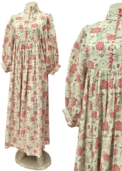 1960s Vintage Beige & Red Print High Neck Balloon Sleeve Maxi Dress