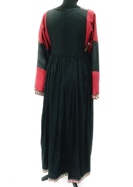 1970s Vintage Traditional Red & Black Afghan Kuchi Dress • Boho •
