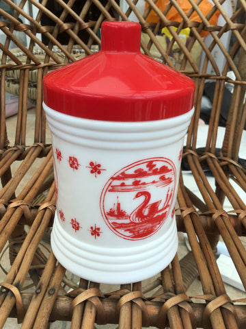 Red and White Dutch Milk Glass Canister Jar - Vintage Kitchenalia