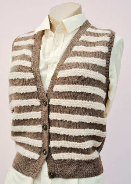 Vintage 40s brown striped knitted waistcoat tank top