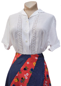 Original 40s white cotton short sleeve blouse with lace panel inserts and a loose weave chequered pattern to the weave