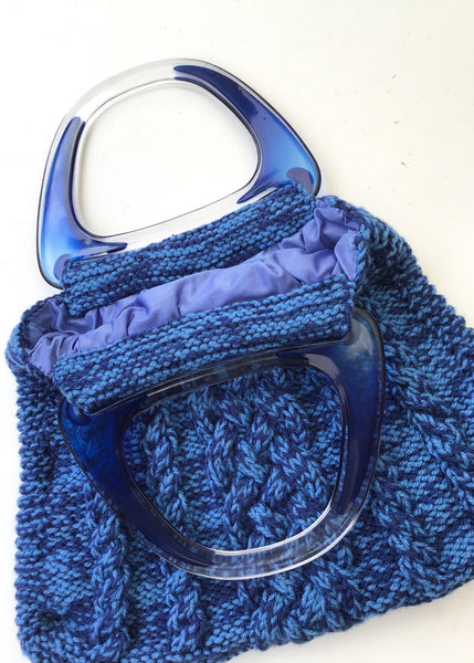 Vintage Blue Lucite Handle Knitting Bag 💙 Chunky Cable Knit