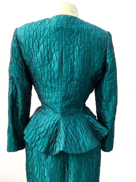1990s Turquoise Quilted Skirt Suit by Hardie Amies