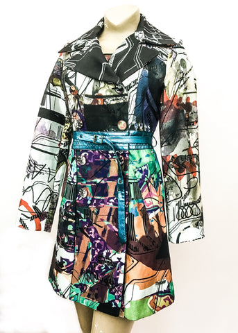 Desigual Printed Coat with Foil Blue Belt 🖤 Preloved