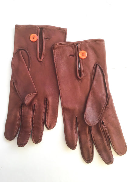 1970s Vintage Men's Tan Butter Soft Leather Driving Gloves