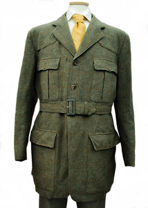 Vintage menswear belted back green tweed norfolk jacket, country estate outdoors coat