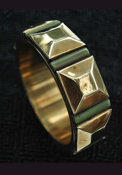 deco brass pyramid and galalith, bengel style bangle