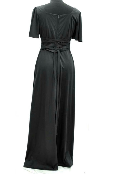 1970s Vintage 60s Black Maxi Evening Dress with Laced Back by Kleemeier Hof