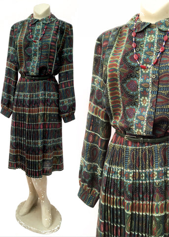 1970s Vintage Long Sleeve Windsmoor Autumn Dress * Pleated Skirt Size 16/18