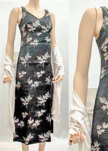 Vintage 60s black and silver brocade satin evening dress, xs