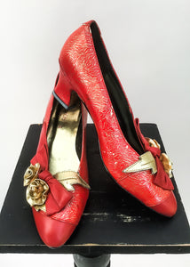 1980s Vintage Kouros Lipstick Red & Gold Rose Pumps court shoes • size 37