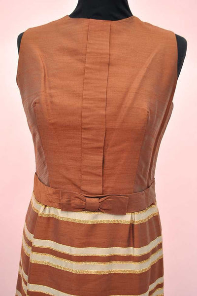 1960s Vintage Silk Copper & Gold Striped Sharkskin Cocktail Dress