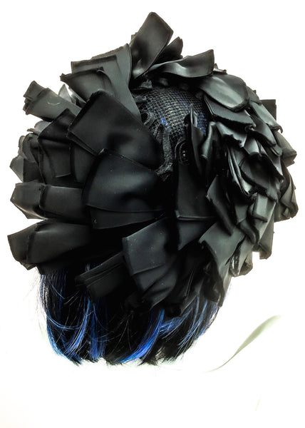 1950s Vintage Black Satin Ribbon Perch Wheel Hat for Harvey Nichols