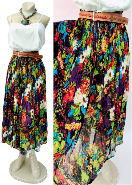 Multicoloured gauze cotton hippie skirt with elasticated waist to fit most sizes.