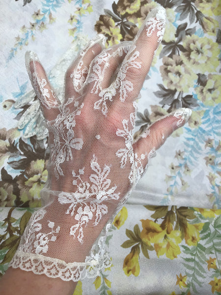 Cream coloured net lace, pretty vintage lacey wedding gloves