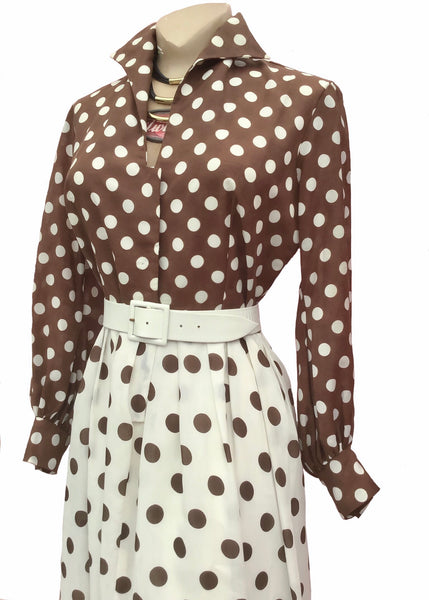 Abigails party hostess maxi dress in brown and white oloka dots
