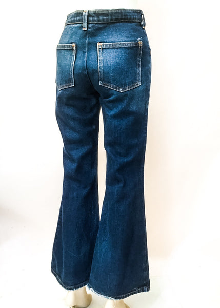 "1970s Vintage Indigo Denim HIgh Waist Bell Bottom Flared Jeans • 30""W"