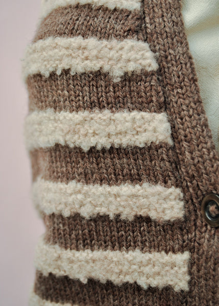 1940s Vintage Hand Knitted Brown Striped Waistcoat Tank Top