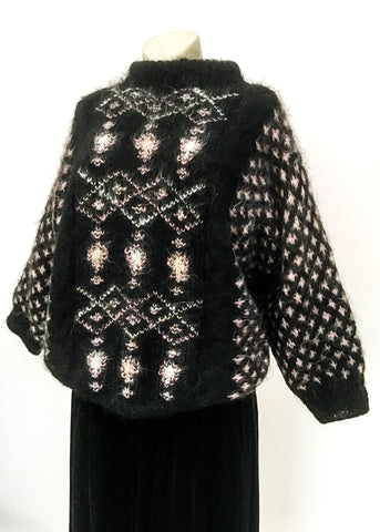 1980s vintage black hand knit mohair sweater, oversized chunky and comfy