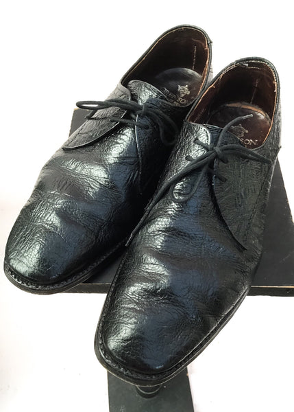 Men's Black Antelope Leather Lace Up Leather Shoes by Grenson • Size UK 8.5