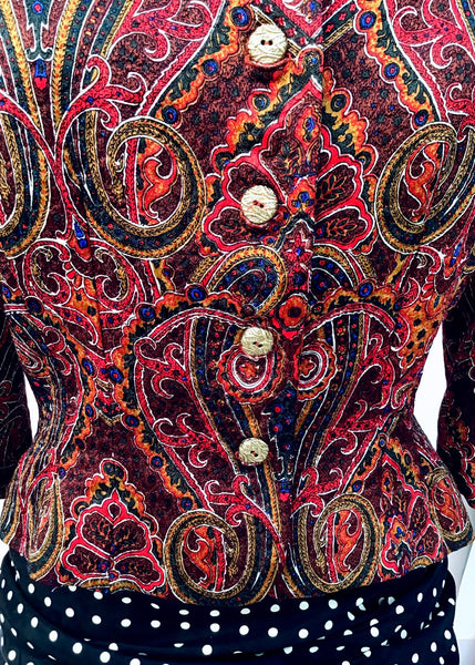 1980s Vintage Silk Paisley Cropped Jacket • Size 40B • Louisa Couture