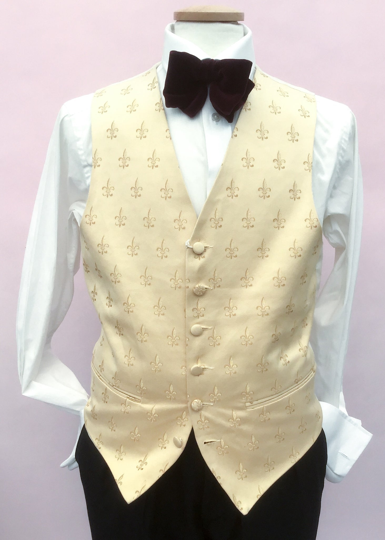 40 inch chest cream fleur de lis damask waistcoat