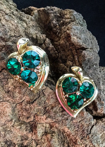 Buy emerald green rivoli earrings, apple shaped with screw back