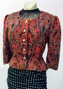 Louisa couture vintage silk paisley evening jacket, cropped to upper hip with 3/4 sleeves, gold button fastening