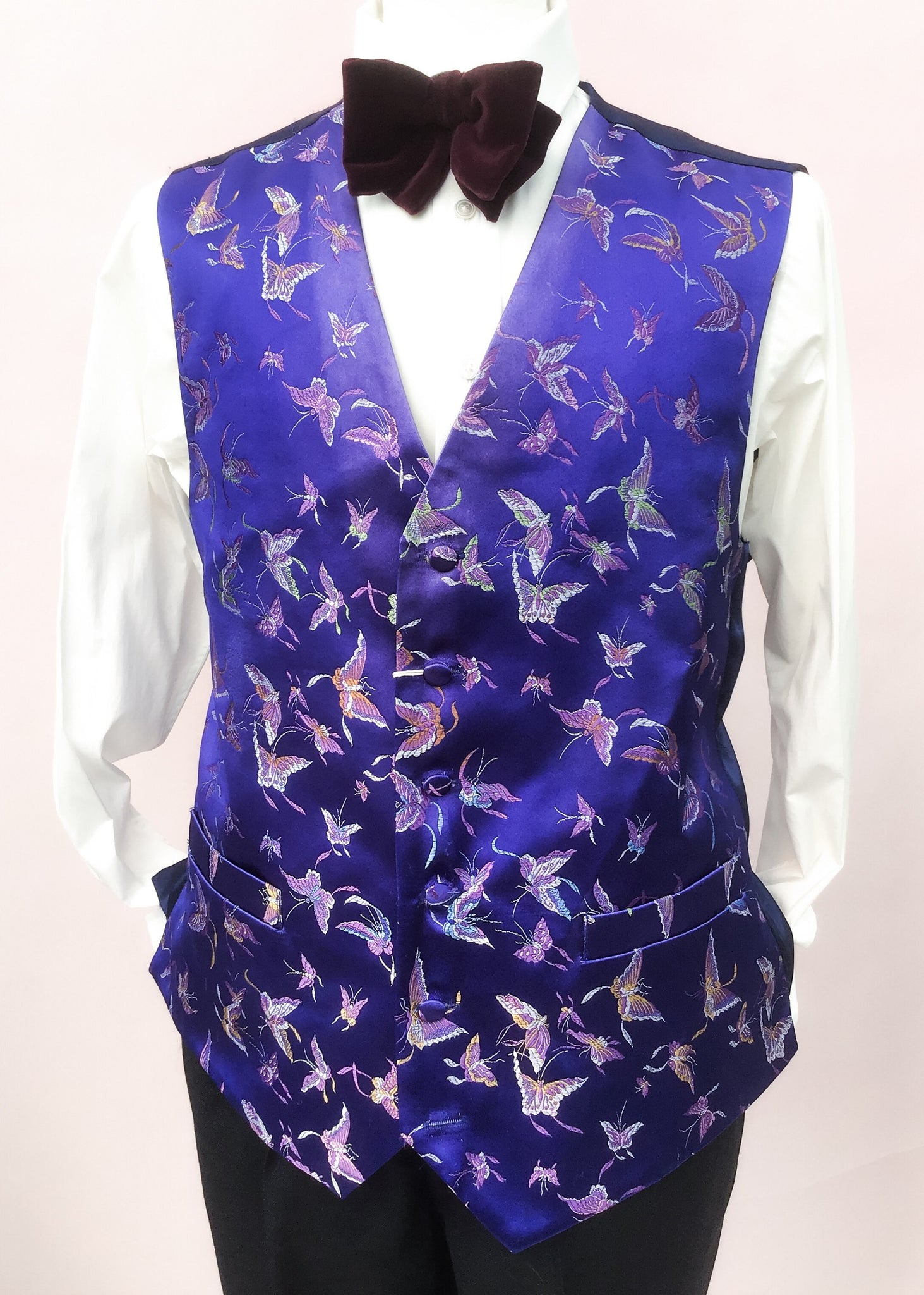 Blue silk brocade waistcoat with butterfly design to fit 44 chest