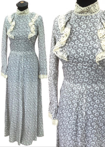 Vintage mr Darren grey floral Maxi prairie dress, Size 6/8