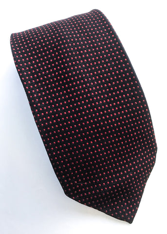 Dark blue silk tie with red dots, vintage 60s neck tie