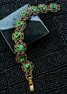 Vintage 1960s Rivoli Glass Blue Green Rhinestone Goldtone Filigree Bracelet