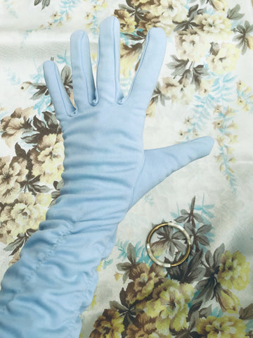 Buy Pretty vintage Pale blue long cocktail gloves with ruching along the forearm